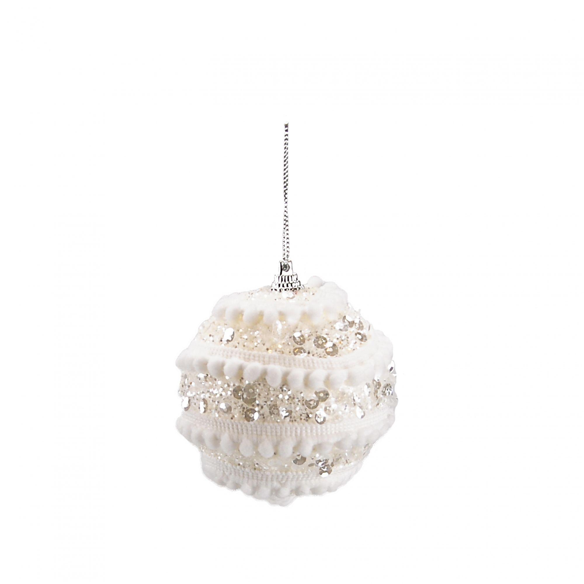 Bola Natal Espuma 08 cm Branco (03 peças)