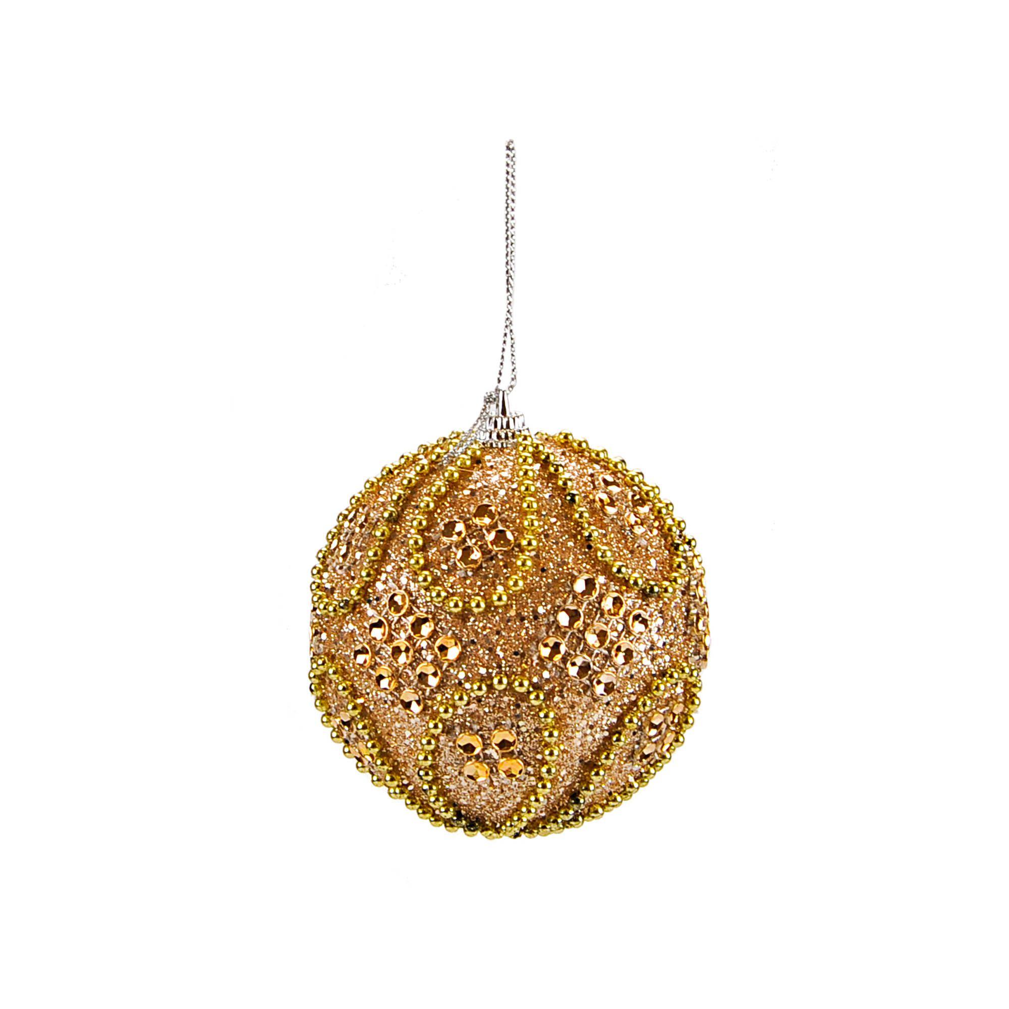 Bola Natal Espuma 08 cm Dourado (03 peças)