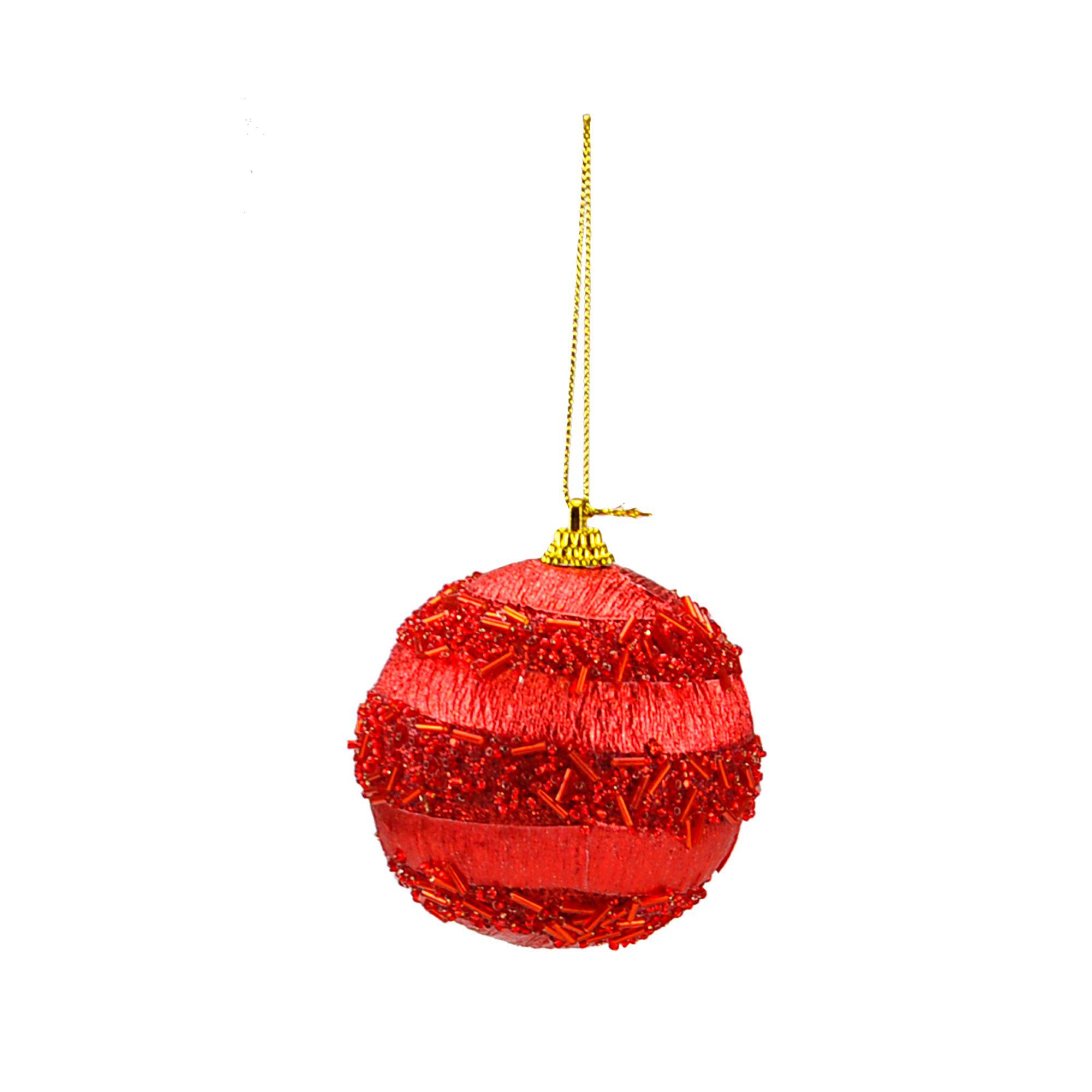 Bola Natal Espuma 08 cm Vermelha (03 peças)