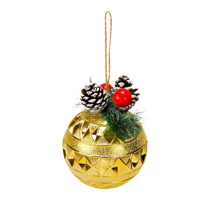 Bola Natal Plástico 10 cm Dourado
