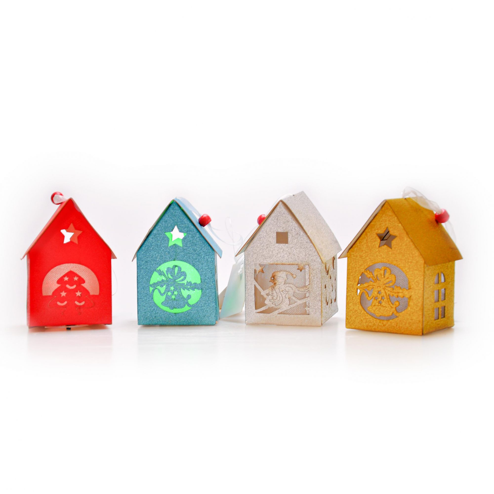 Enfeite Natalino Casa colorida 10x6,5x06cm (Dispon. em 04 cores- acende luz)