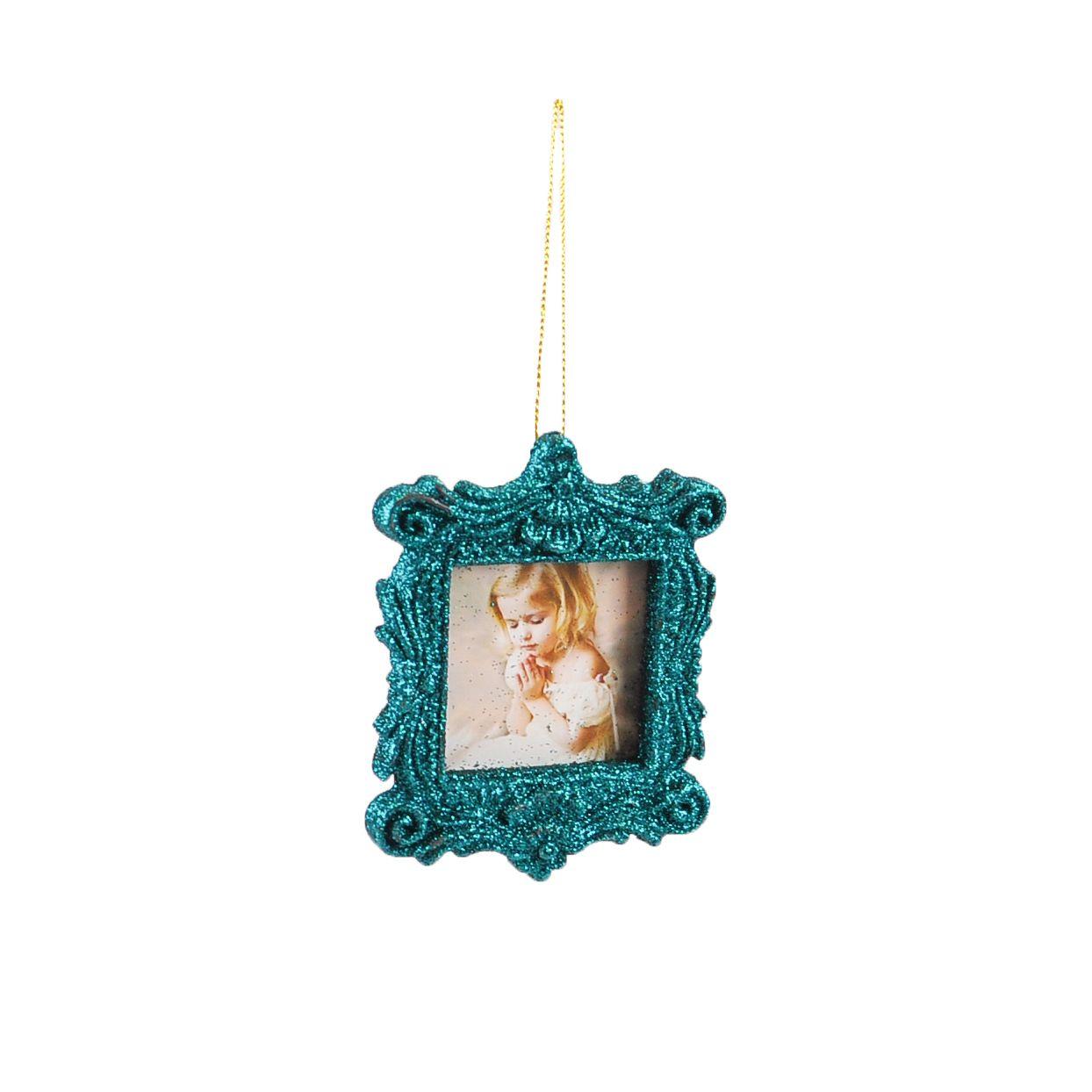 Enfeite Natal Retrato Azul 10x08 cm