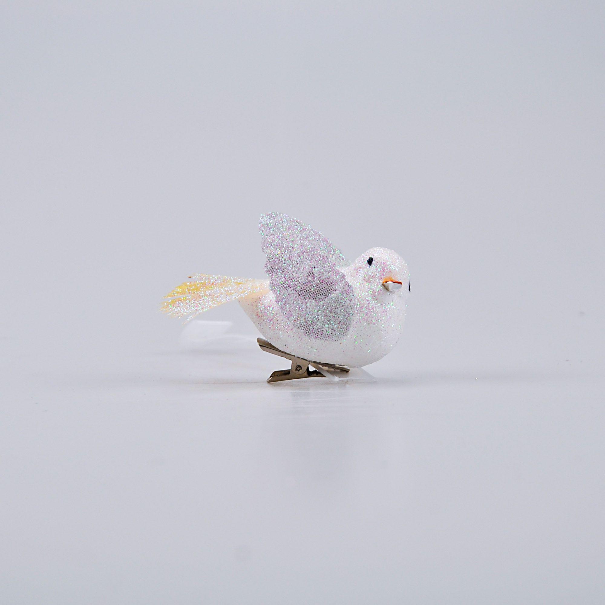 Enfeite Natalino Espuma 08 x 04 cm Pássaro Branco (04 peças)