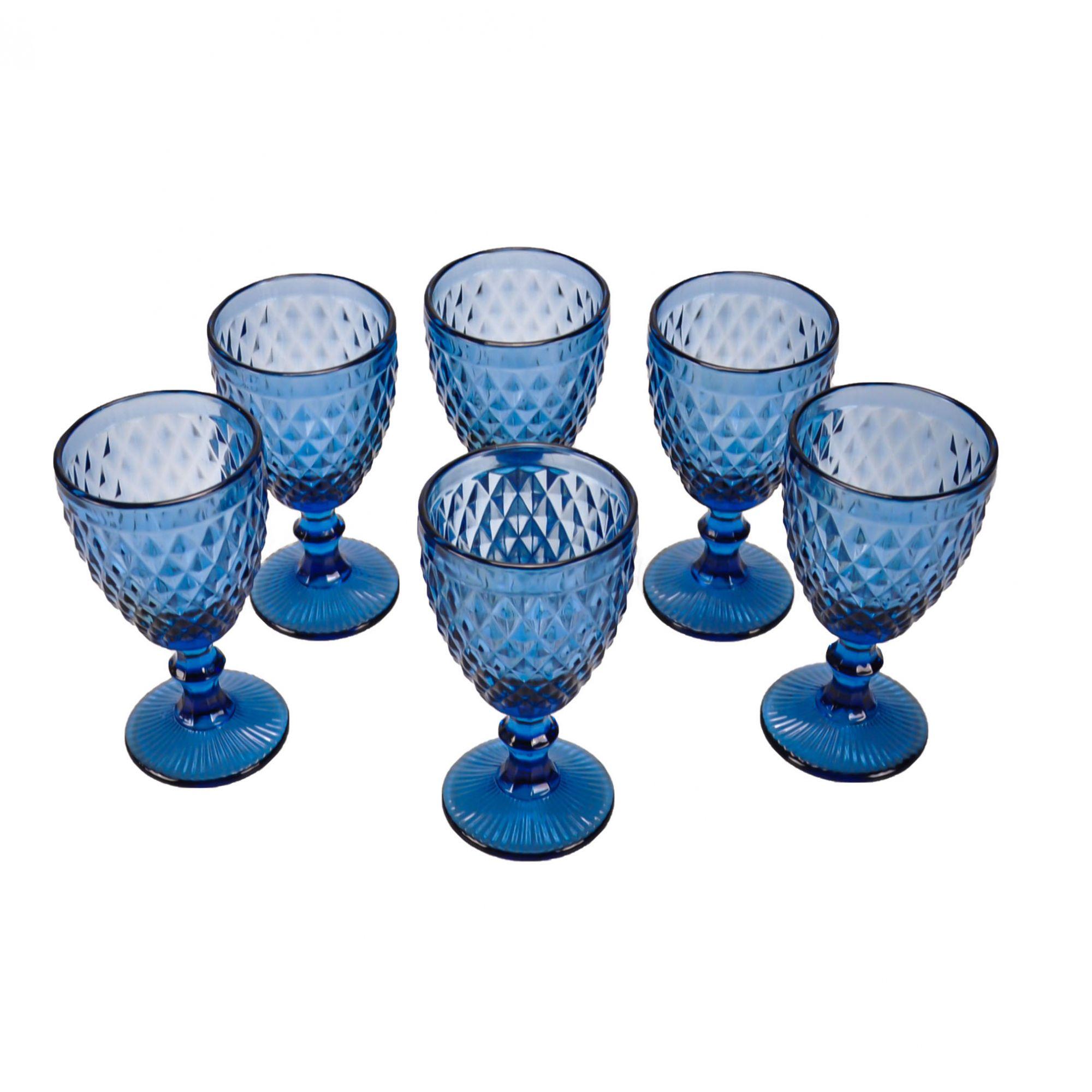 Jogo 06 taças de vidro para água azul 61395