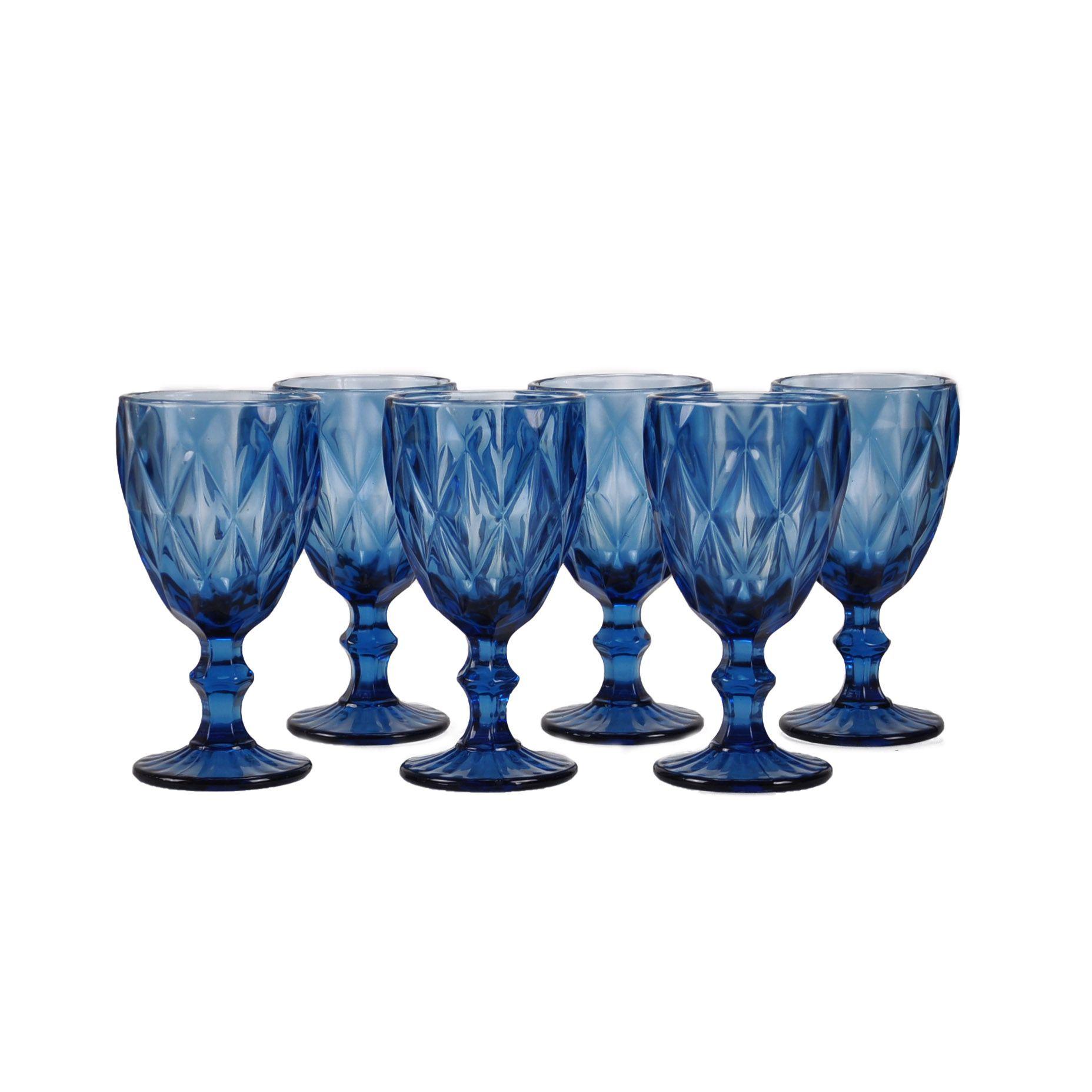 Jogo 06 taças de Vidro para Água azul 61379