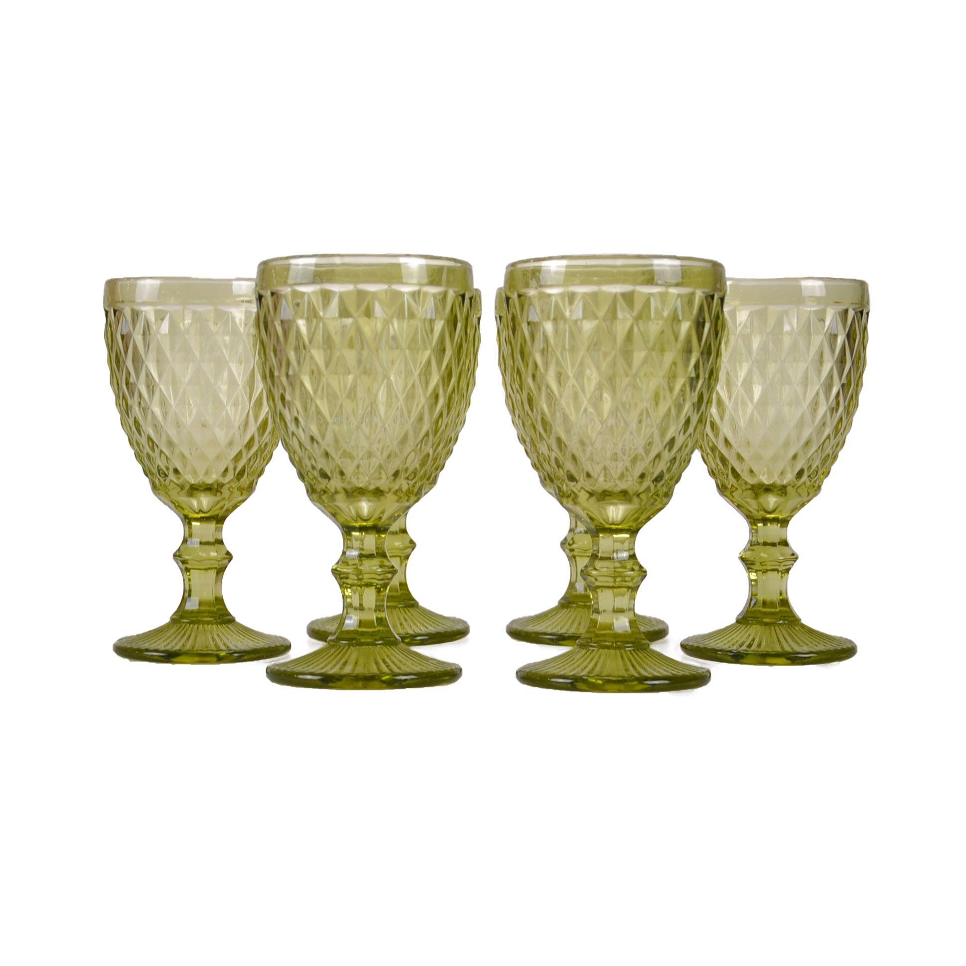 Jogo 06 taças de Vidro para Água Verde 61379