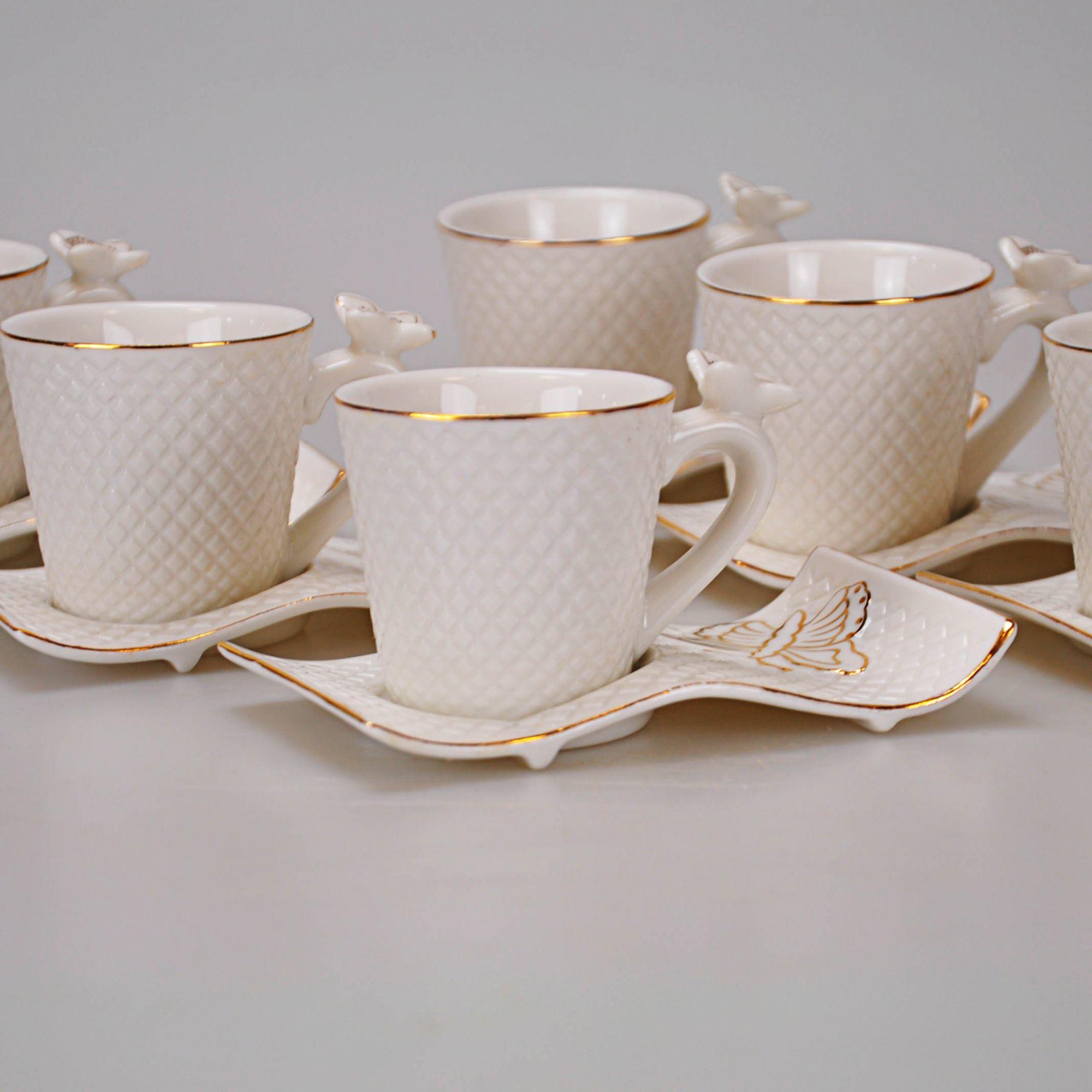 Jogo Chá Branco 5,5 X 5,5 cm borboletas (12 PEÇAS)