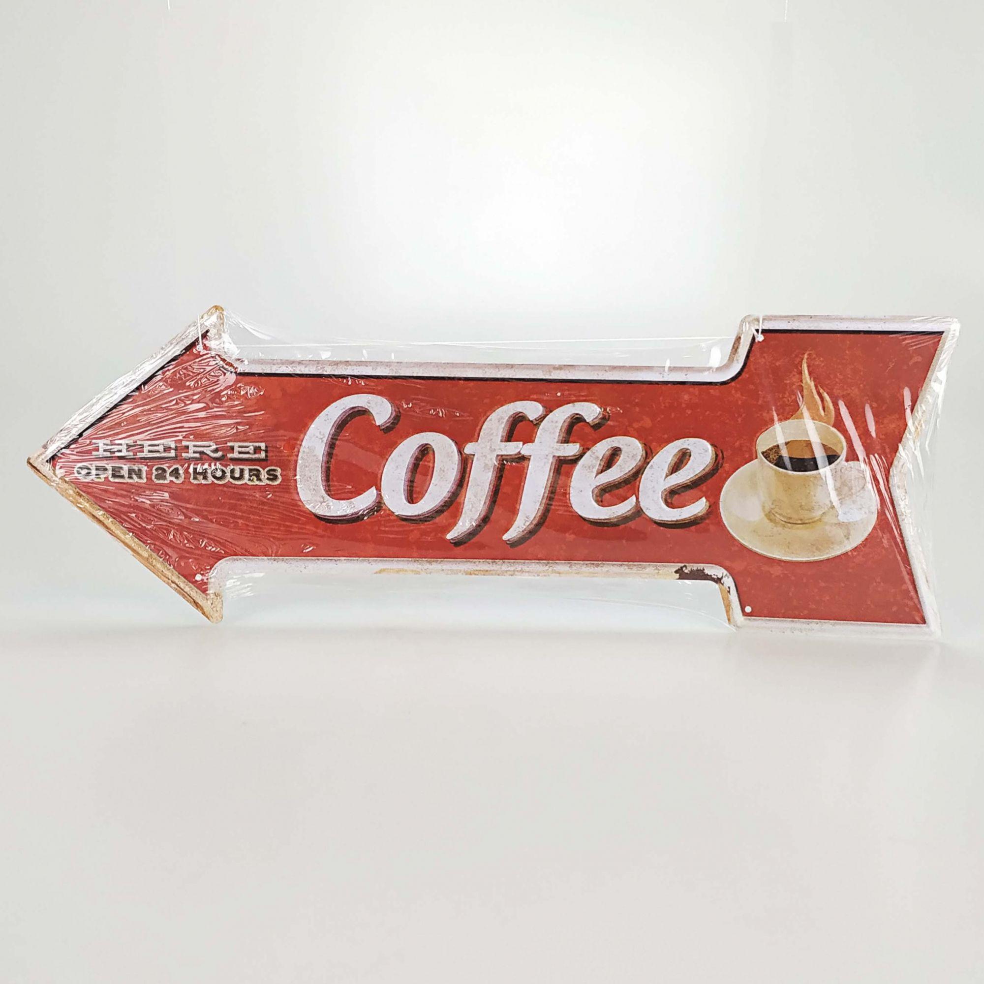 Placa 16 x 45 cm - Seta Esquerda COFFEE 3217
