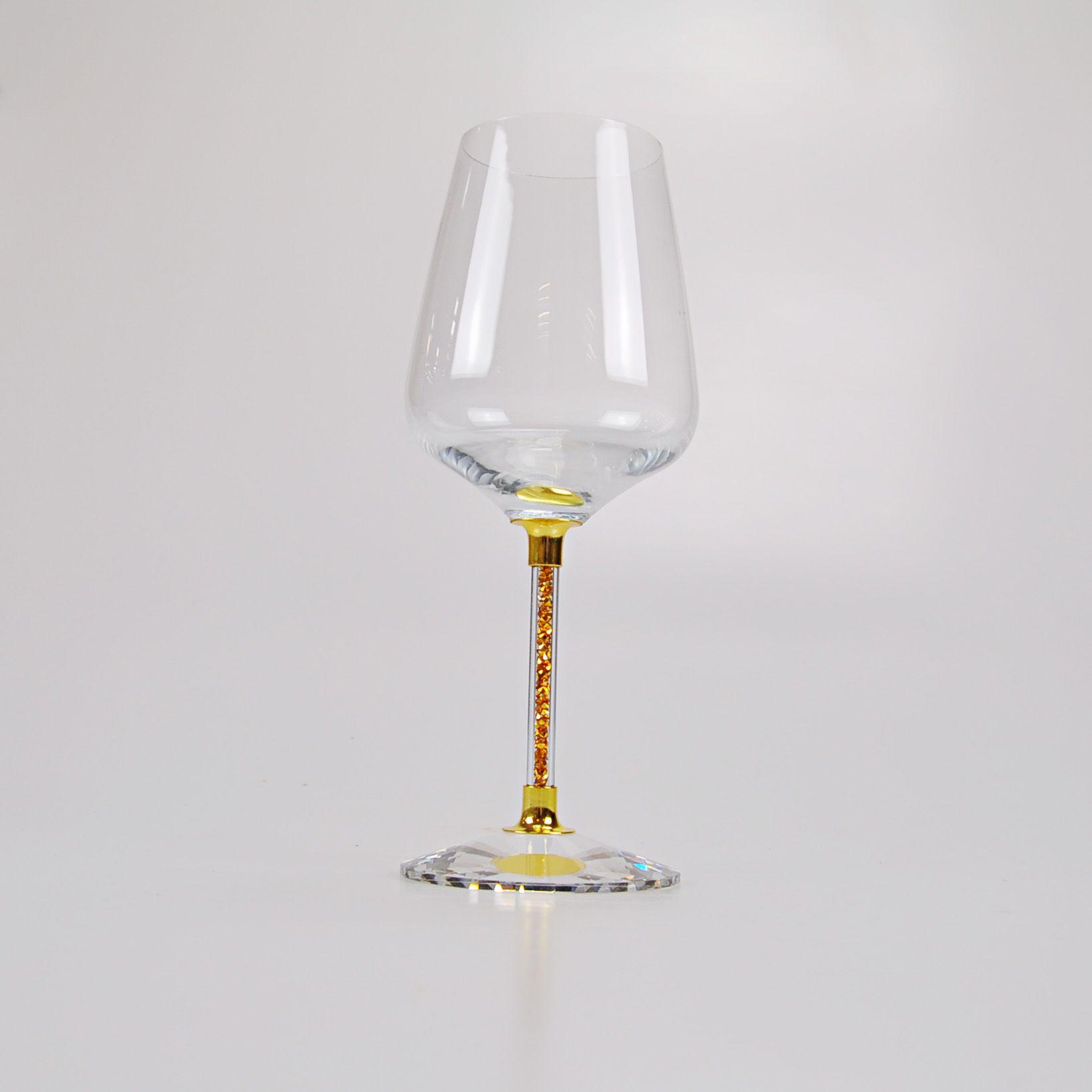 Taça para vinho com pedras Douradas - unidade