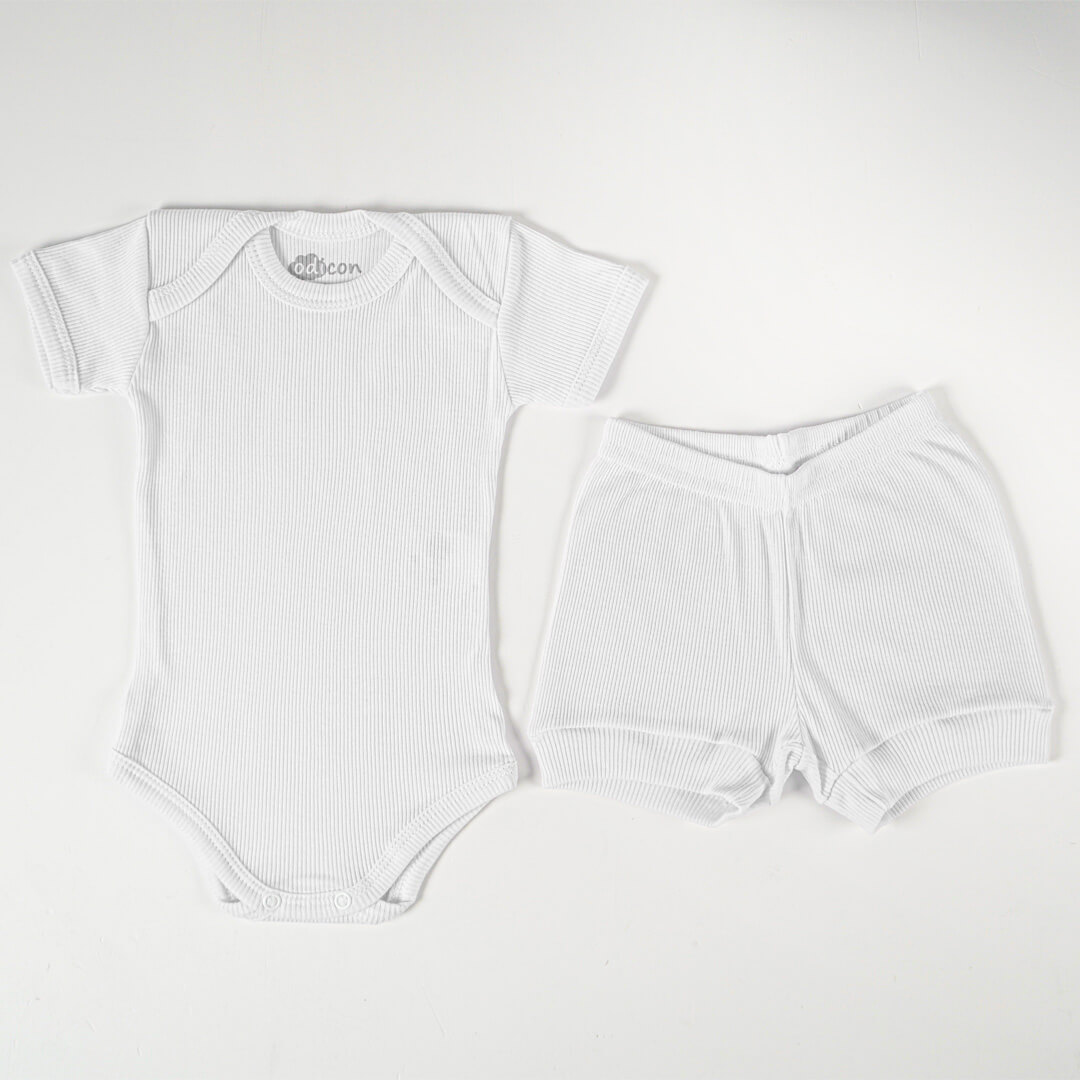 Conjunto Body Canelado Branco Manga Curta