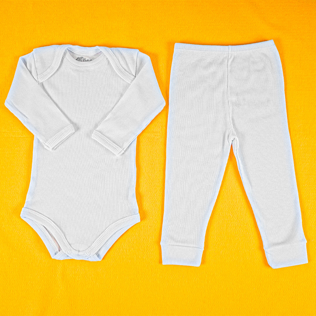 Conjunto Body Bebê Canelado Branco Manga Longa
