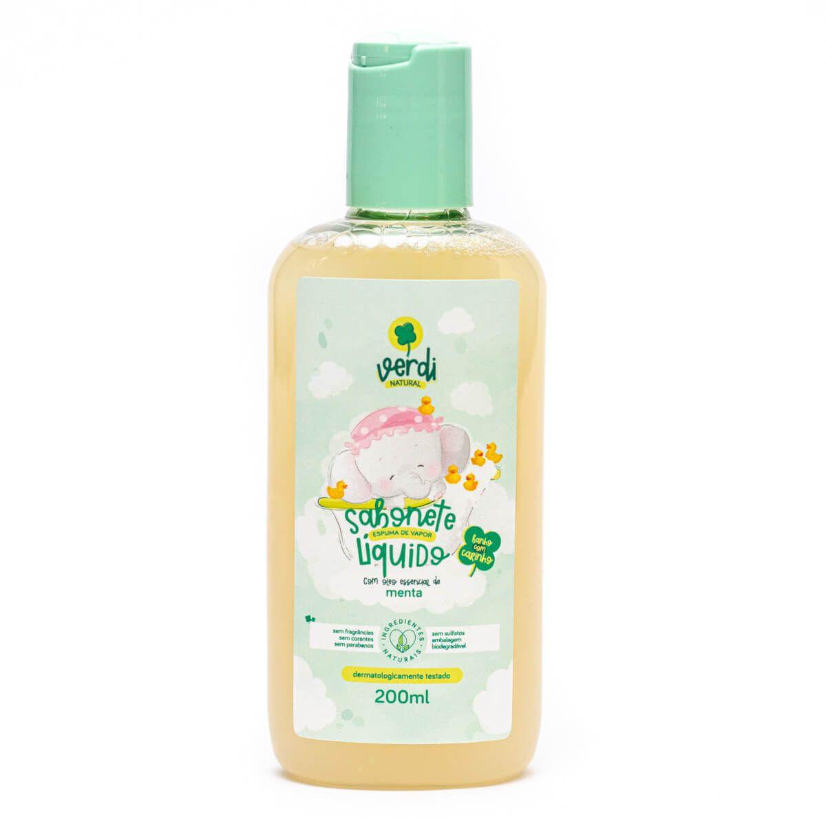 Sabonete Líquido e Shampoo 100% Natural Espuma de Vapor com Óleo Essencial de Menta