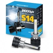 KIT LAMPADA FAROL LED CARRO SHOCKLIGHT S14 NANO H1 12V 6000K