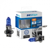 KIT LAMPADA SUPER BRANCA 12V 8500K 55W SHOCKLIGHT H3 PAR