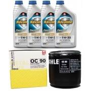 Kit Troca Oleo E Filtro Prisma Celta Mahle Havoline 5W30