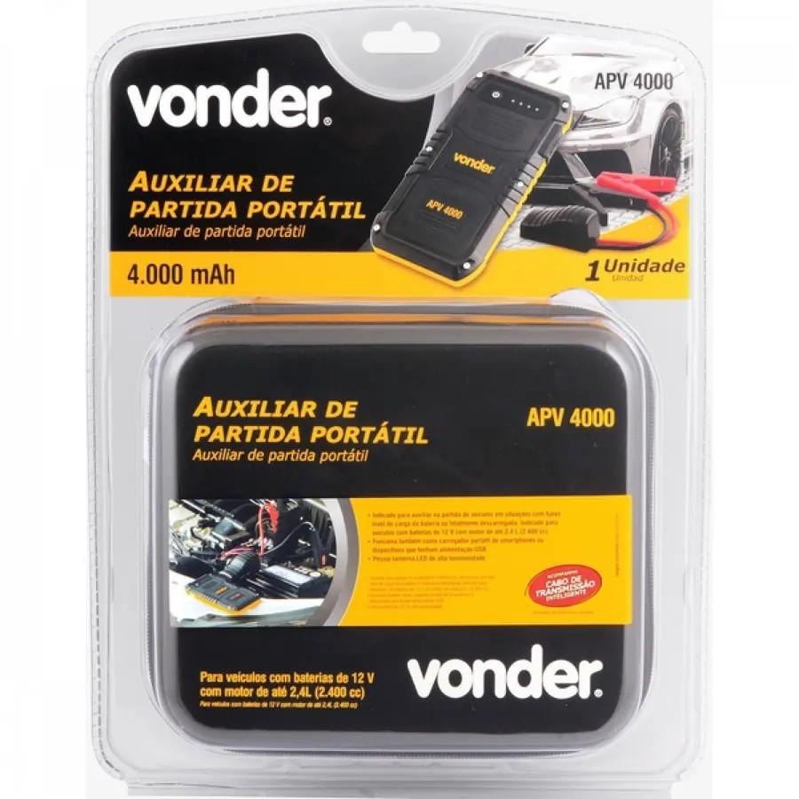 AUXILIAR DE PARTIDA PORTÁTIL APV4000 12V VONDER 4000 mAh