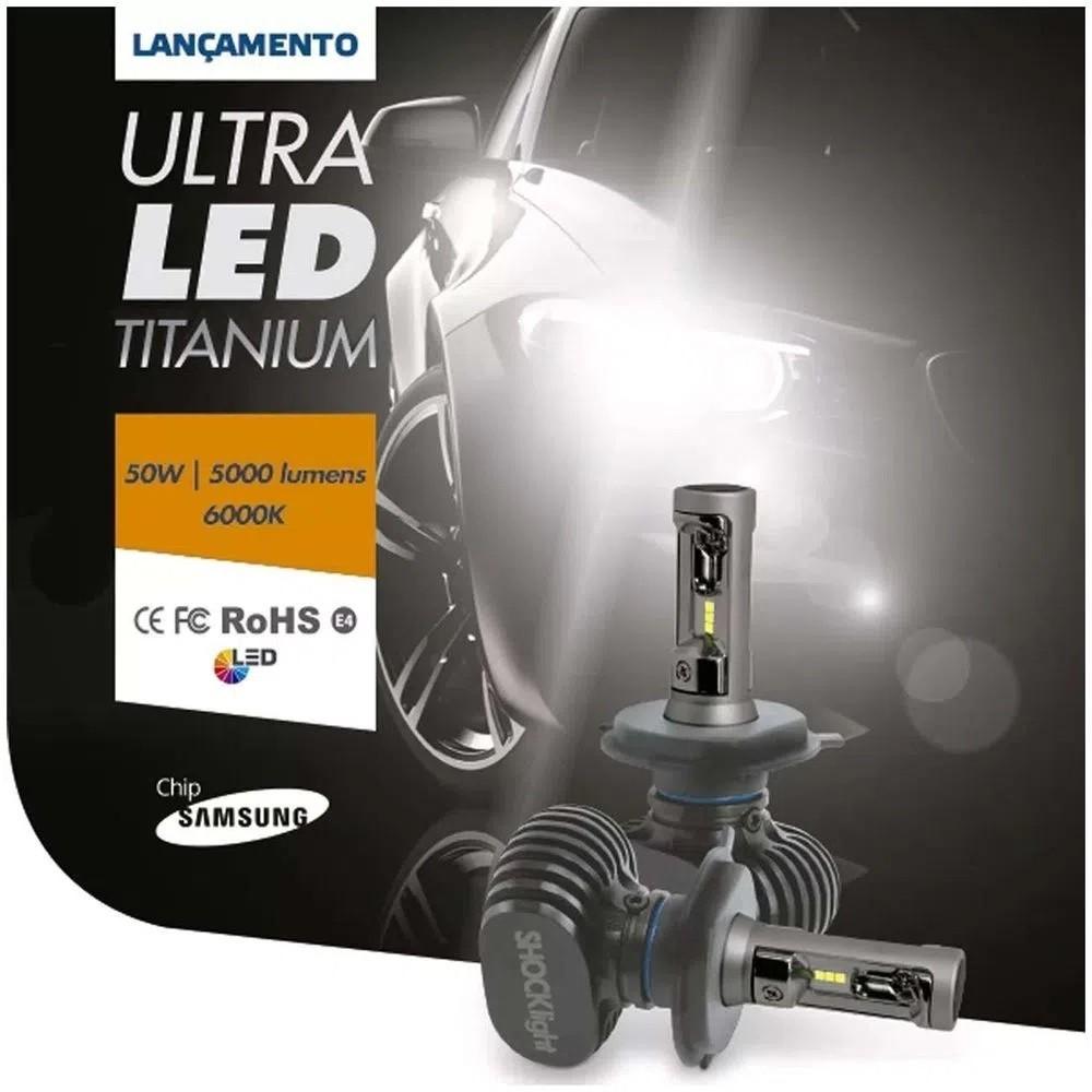 KIT LAMPADA CARRO ULTRALED TITANIUM SHOCKLIGHT H16 10000 LM