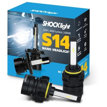 KIT LAMPADA FAROL LED CARRO SHOCKLIGHT S14 NANO H16 12V 6000
