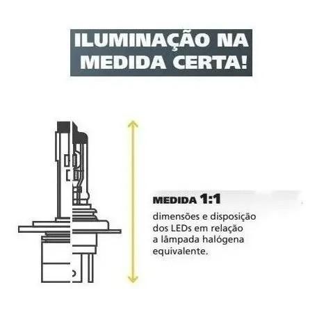 KIT LAMPADA FAROL LED CARRO SHOCKLIGHT S14 NANO H3 12V 6000K