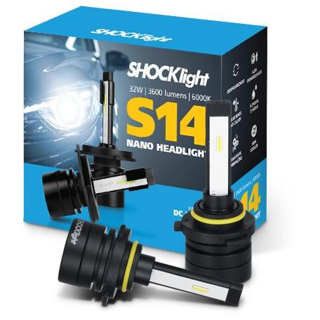 KIT LAMPADA FAROL LED CARRO SHOCKLIGHT S14 NANO HB3 HB4 12V