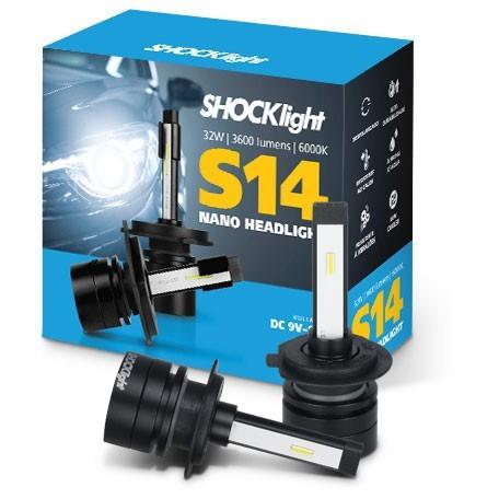 KIT LAMPADA FAROL LED SHOCKLIGHT S14 NANO H7 + H11 12V 6000K