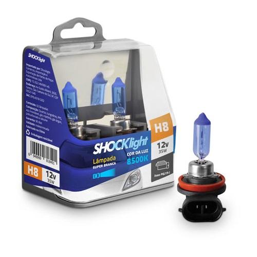 KIT LAMPADA SUPER BRANCA 12V 8500K 35W SHOCKLIGHT H8 PAR