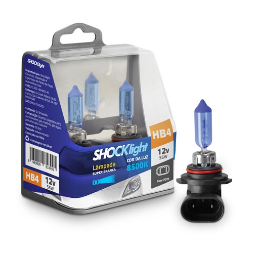 KIT LAMPADA SUPER BRANCA 12V 8500K 55W SHOCKLIGHT HB4 9006