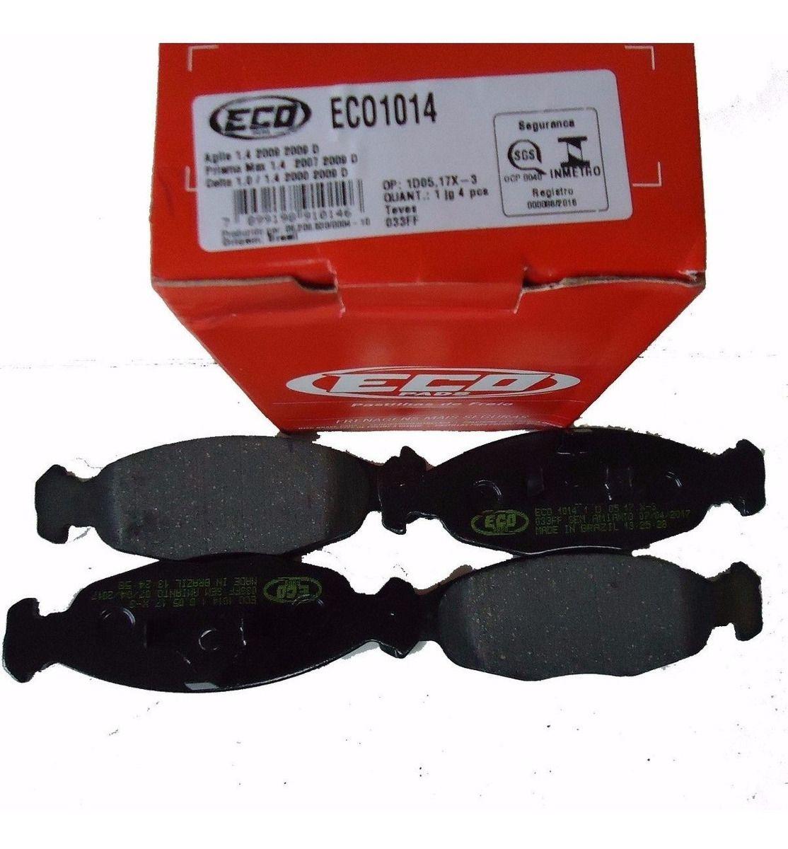 PASTILHA FREIO ECOPADS ECO 1014 CORSA 91/09 CELTA 1.0 00/09  PRISMA 1.4/MPFI 8V 07/09 AGILE   DIANTEIRA SISTEMA  TEVES
