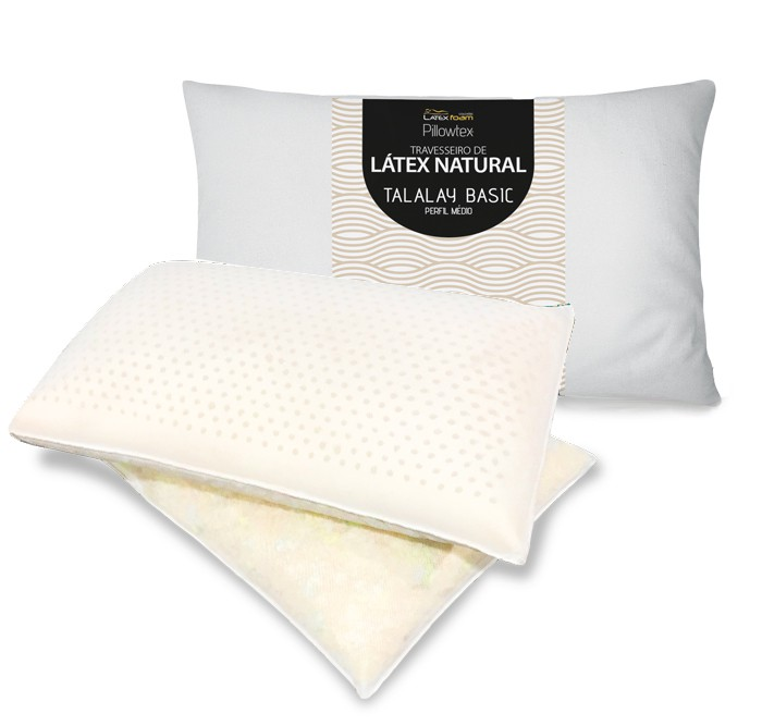 Travesseiro de Látex Talalay meio placa meio flocos Médio