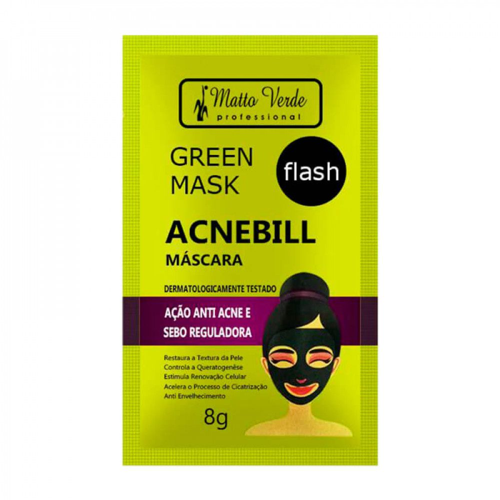Máscara Facial Green Mask Acnebill Matto Verde