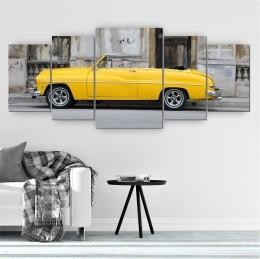 Quadro Decorativo Mosaico Sala Carro Retrô Amarelo 5 peças 144x60cm