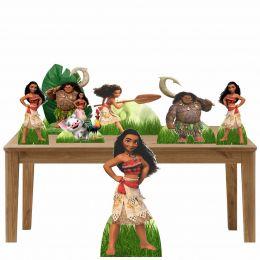 Kit 2 Decoração de Festa Totem Display Moana - 7 Peças