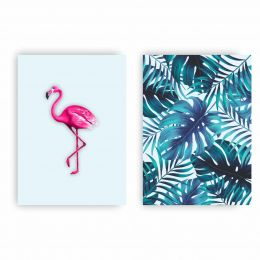 Kit 2 Placas Decorativas Flamingo Tropical