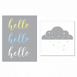 Kit 2 Placas Decorativas Hello