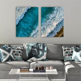 Kit 2 Placas Decorativas Ondas do Mar