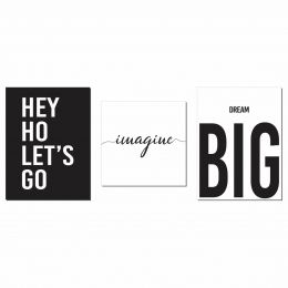 Kit 3 Placas Decorativas Hei Ho Let's Go