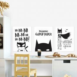 Kit Quadro Placa Decorativa MDF Quarto Infantil Menino 3pçs