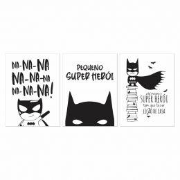 Kit 3 Placas Decorativas Pequeno Super Herói