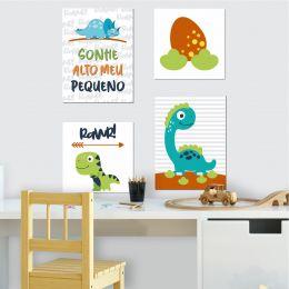Kit 4 Placas Decorativas Dinossauro Sonhe Alto