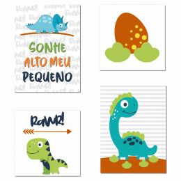 Kit Quadro Placa Decorativa MDF Infantil Quarto Dinossauro 4pçs