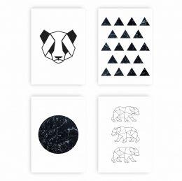 Kit Quadro Placa Decorativa MDF Geométrico Sala 4 peças