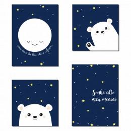 Kit 4 Placas Decorativas Lua e Urso