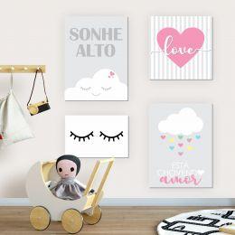 Kit Quadro Placa Decorativa MDF Quarto Infantil Menina 4 pçs