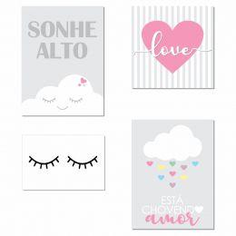 Kit 4 Placas Decorativas Sonhe Alto Menina