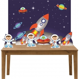 Kit 6 Displays de Mesa e Painel Astronauta