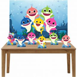Kit 6 Displays de Mesa e Painel Baby Shark