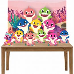 Kit 6 Displays de Mesa e Painel Baby Shark Rosa
