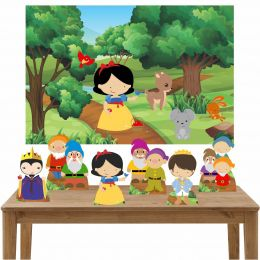 Kit 6 Displays de Mesa e Painel Branca de Neve Cute