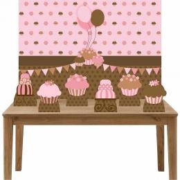 Kit 6 Displays de Mesa e Painel Cupcakes e Bolo