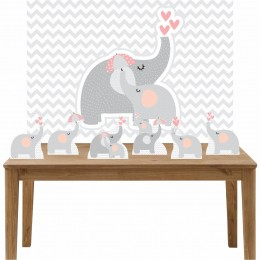Kit 6 Displays de Mesa e Painel Elefante Rosa